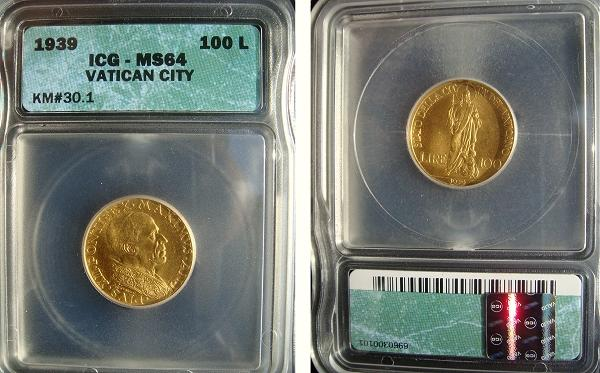 1939 Vatican 100 Lire Gold Coin ICG MS64 Photo