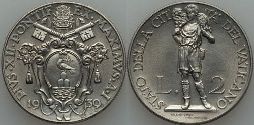 1939 Vatican 2 Lire GOOD SHEPHERD Coin Photo