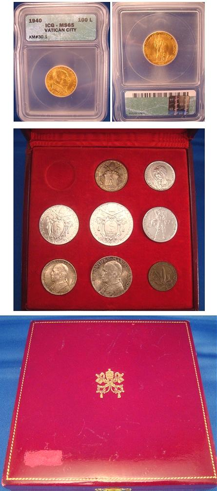 1940 Vatican Mint Set 9 Coins Cased, Gold MS65 Photo