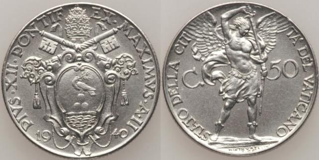 1940 Vatican 50 Cent Archangel Michael Coin Photo