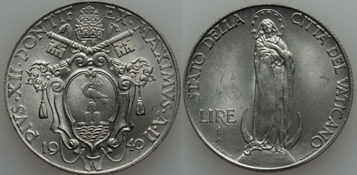 1940 Vatican 1 Lira VIRGIN MARY Coin Photo