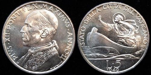 1940 Vatican 5 Lire Silver St. Peter Coin Photo