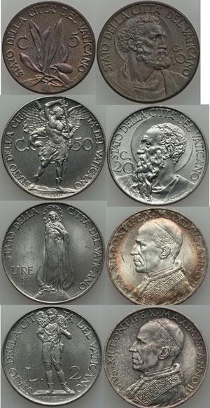 1940 Vatican Mint Set 8 Coins, Ch.Unc Photo