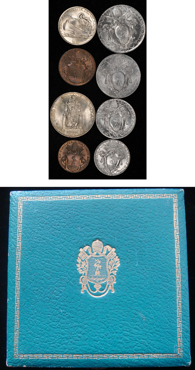 1940 Vatican Mint Set 8 Coins Cased Photo