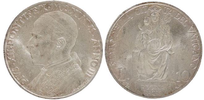 1941 Vatican 10 Lire Silver Coin BU Photo