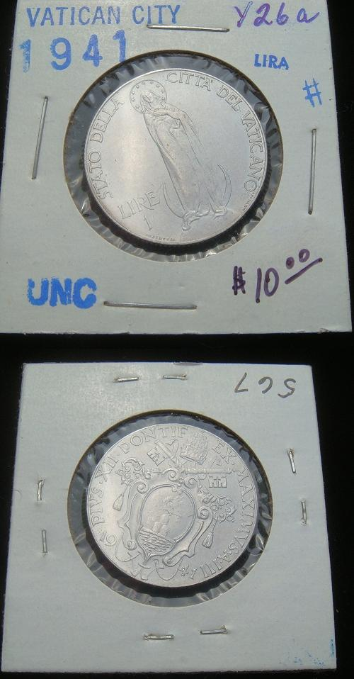 1941 Vatican 1 Lira VIRGIN MARY Coin Photo