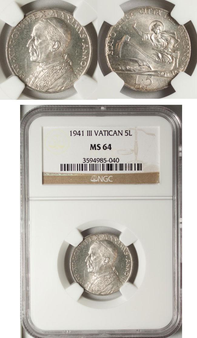 1941 Vatican 5 Lire NGC MS64 St. Peter Coin Photo
