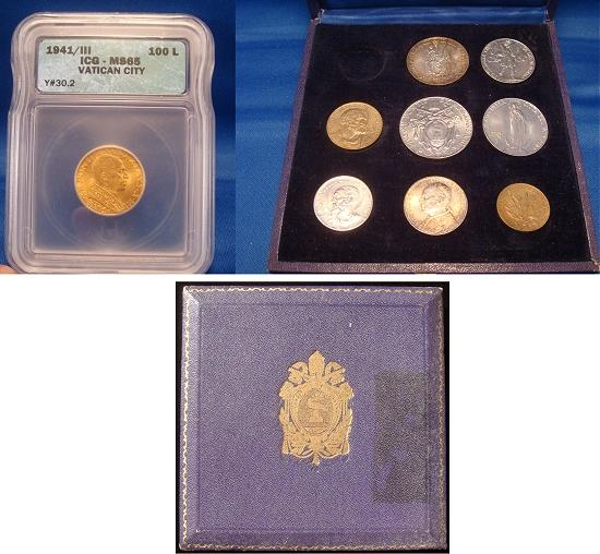 1941 Vatican Mint Set 9 Coins Cased, Gold MS65 Photo