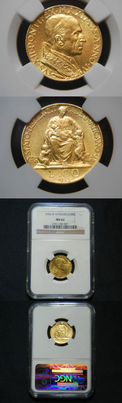 1942 Vatican 100 Lire Gold Coin NGC MS62 Photo