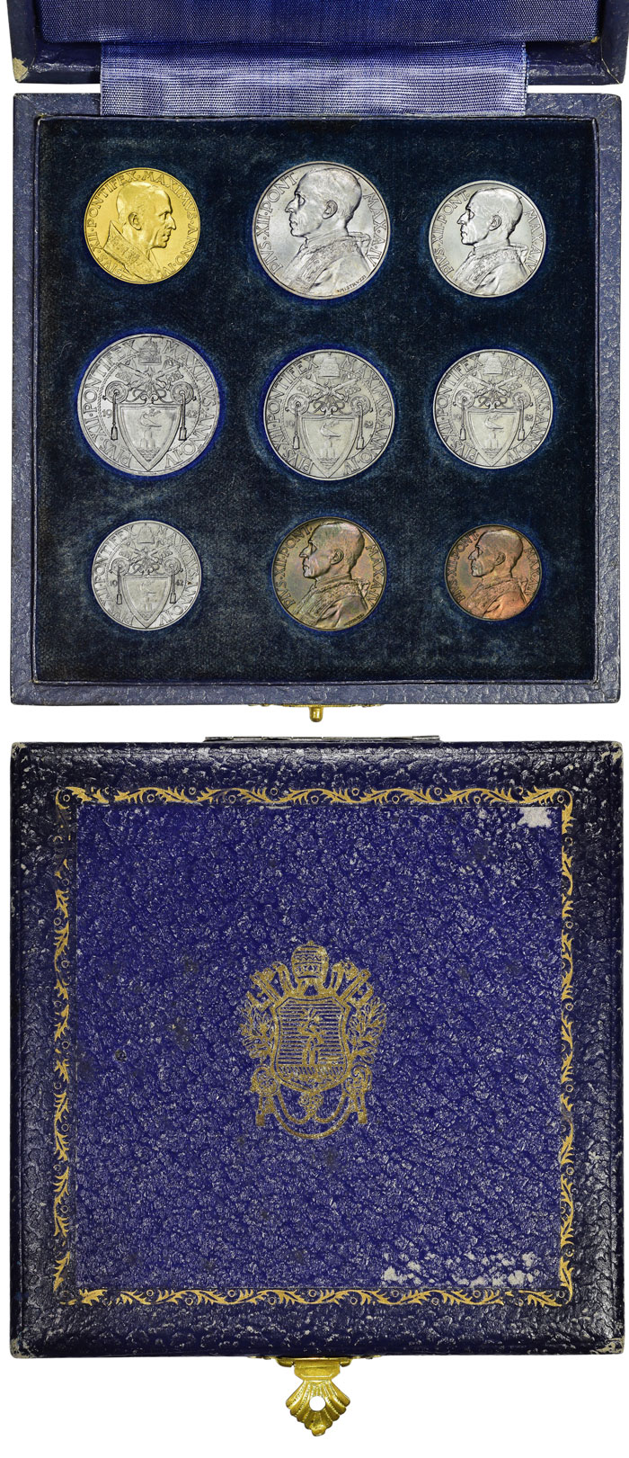 1942 Vatican Mint Set 9 Coins With Case Photo