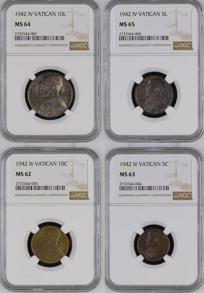 1942 Vatican Key Coins MS62-65 Photo