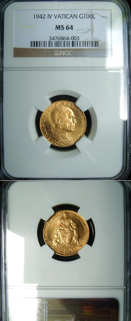 1942 Vatican 100 Lire Gold Coin NGC MS64 Photo