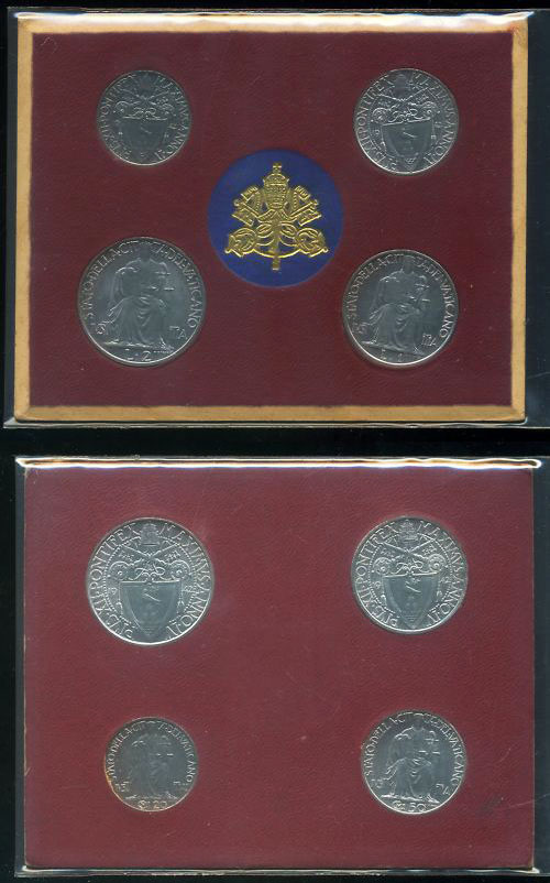 1942 Vatican Coin Set, 4 Coins UNC Photo