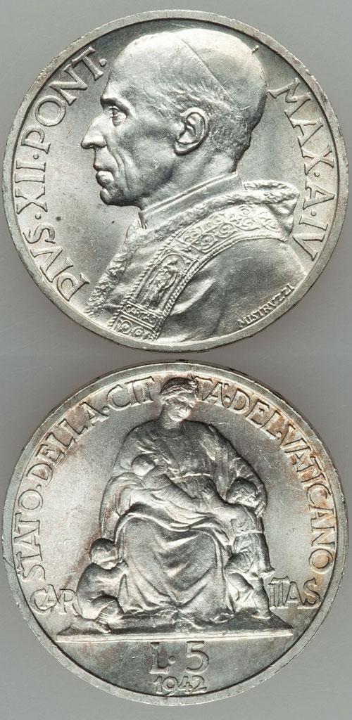 1942 Vatican 5 Lire Silver Coin UNC Photo