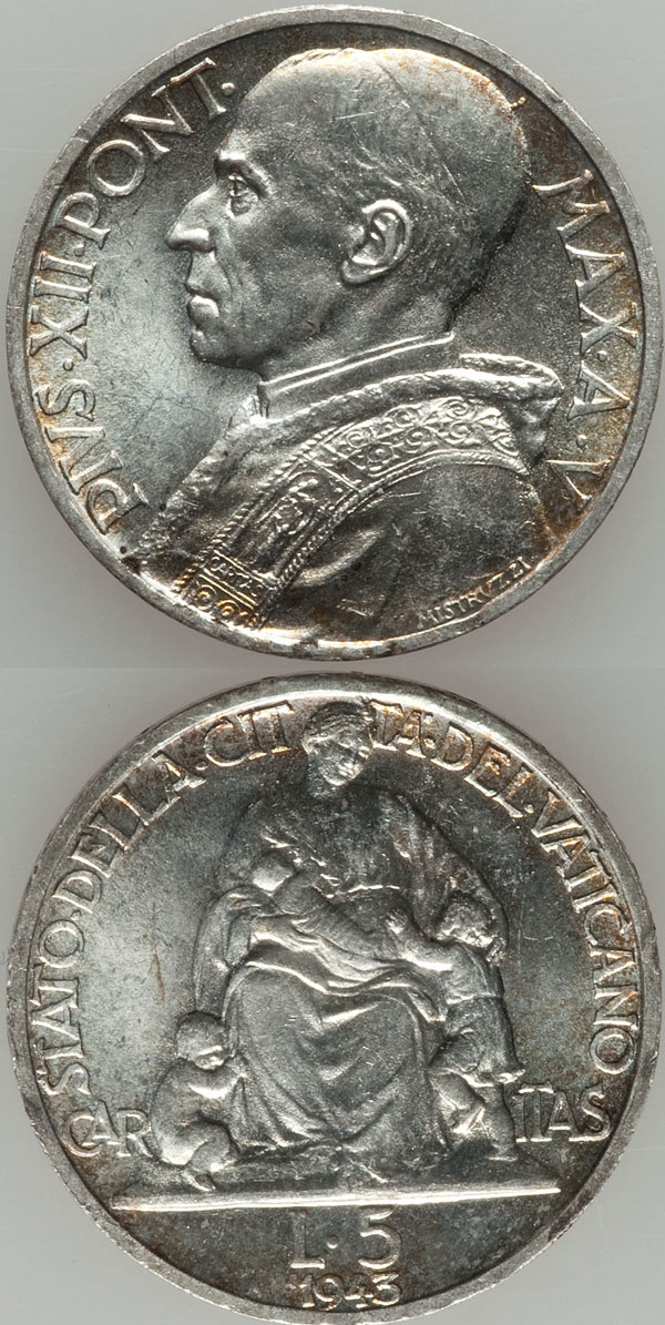 1943 Vatican 5 Lire Silver Coin BU Photo