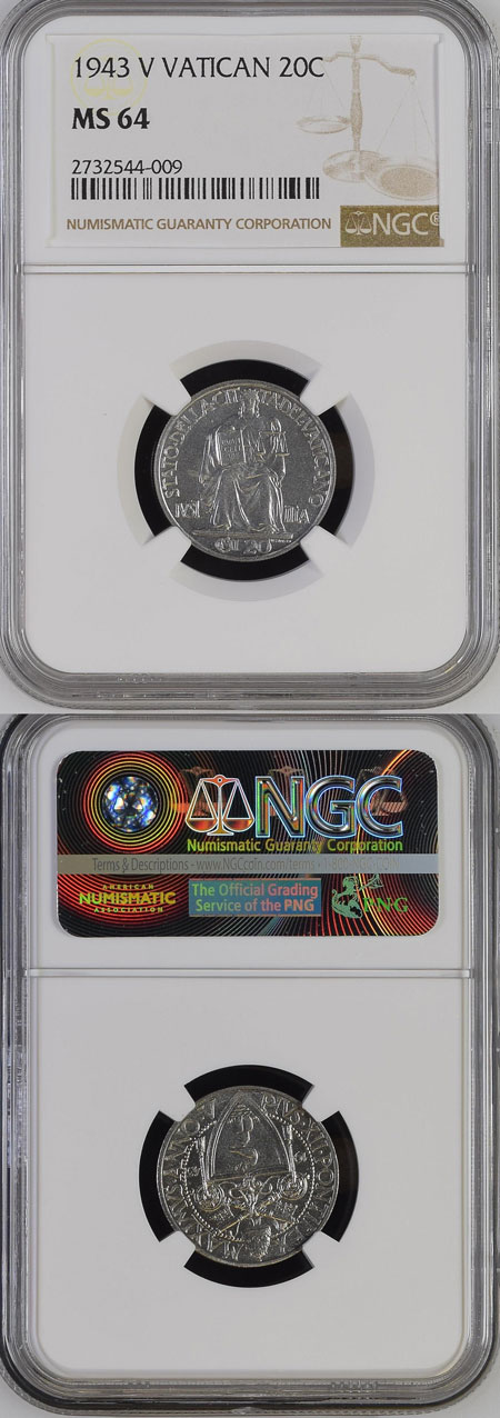 1943 Vatican 20 Centesimi NGC MS64 Photo