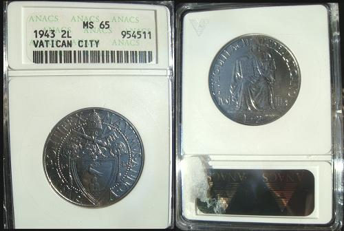 1943 Vatican 2 Lire ANACS MS65 Photo