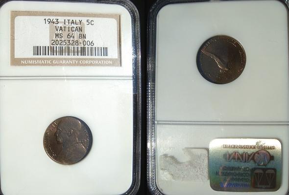 1943 Vatican 5 Centesimi NGC MS64 BN Photo