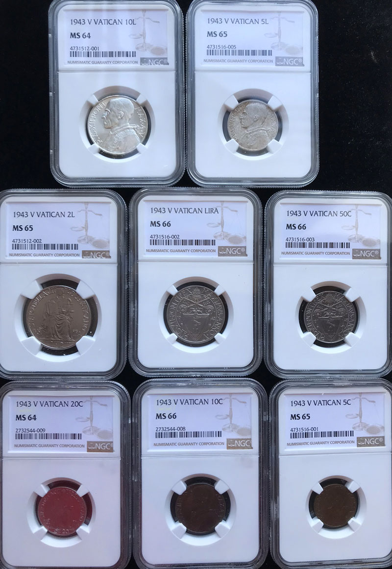 1943 Vatican 8 Coin Set NGC MS64-66 Photo