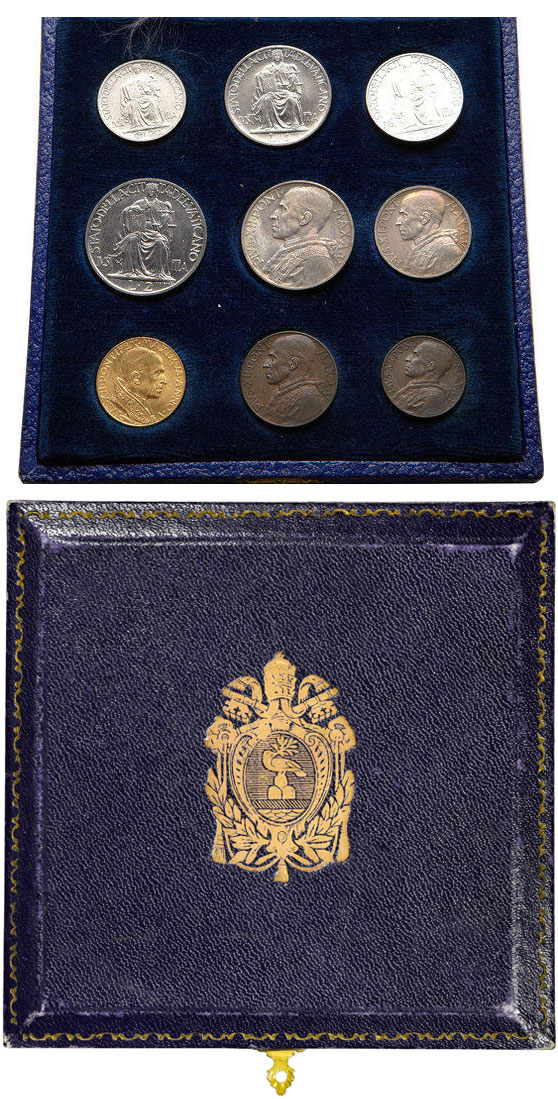 1943 Vatican City 9 Coin Full Set With Case Photo