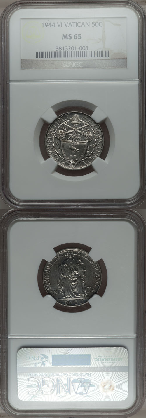 1944 Vatican 50 Centesimi NGC MS65 Photo
