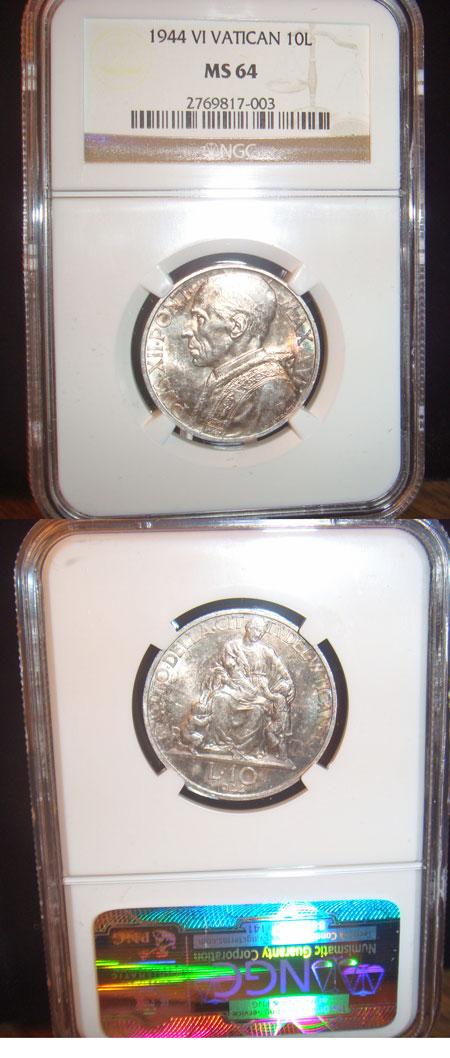1944 Vatican 10 Lire Silver Coin MS64 Photo