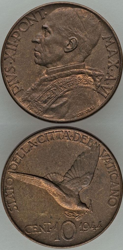 1944 Vatican 10 Centesimi Dove Coin UNC Photo