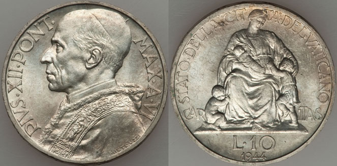 1944 Vatican 10 Lire Silver Coin UNC Photo