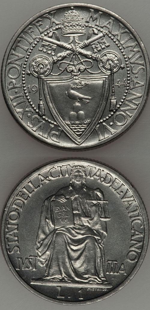 1944 Vatican 1 Lira Coin UNC Photo