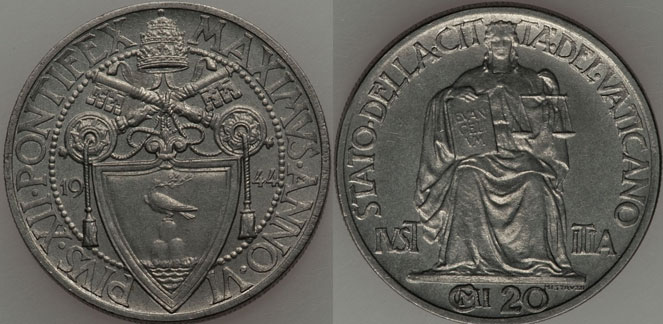 1944 Vatican 20 Centesimi Justice Coin UNC Photo