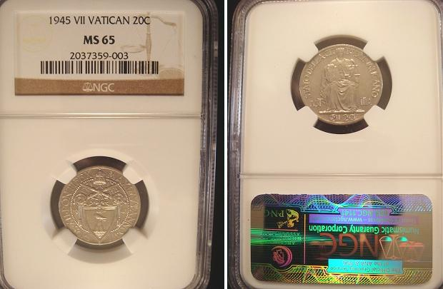 1945 Vatican 20 Centesimi NGC MS65 Photo