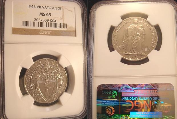 1945 Vatican 2 Lire NGC MS65 Photo