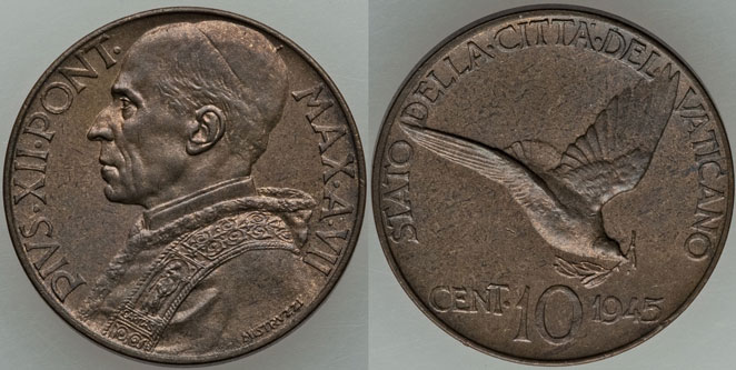 1945 Vatican 10 Centesimi Dove Coin UNC Photo