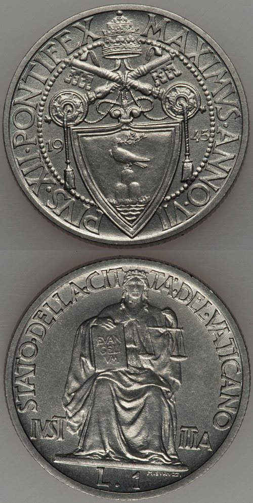 1945 Vatican 1 Lira Coin UNC Photo
