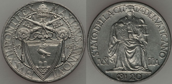 1945 Vatican 20 Centesimi Justice Coin UNC Photo