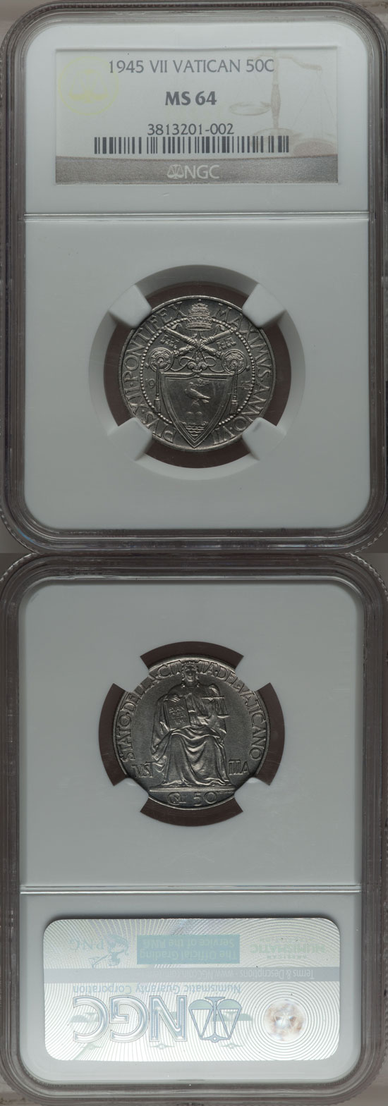 1945 Vatican 50 Centesimi NGC MS64 Photo