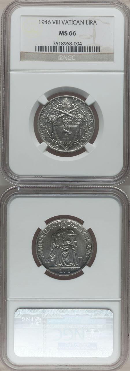1946 Vatican 1 Lira Coin NGC MS66 Photo