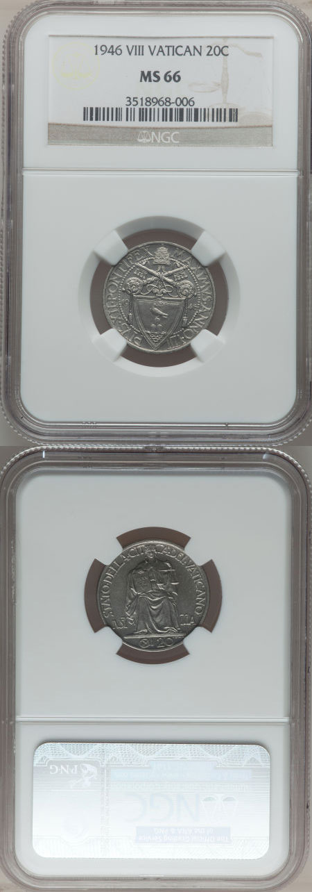 1946 Vatican 20 Centesimi NGC MS66 Photo