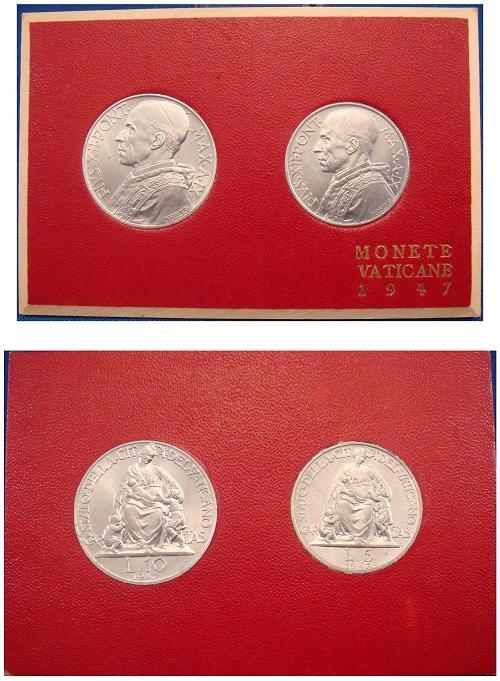 1947 Vatican Mint Set, 2 Coins BU Photo