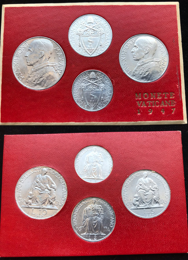 1947 Vatican Mint Set, 4 Coins UNC Photo