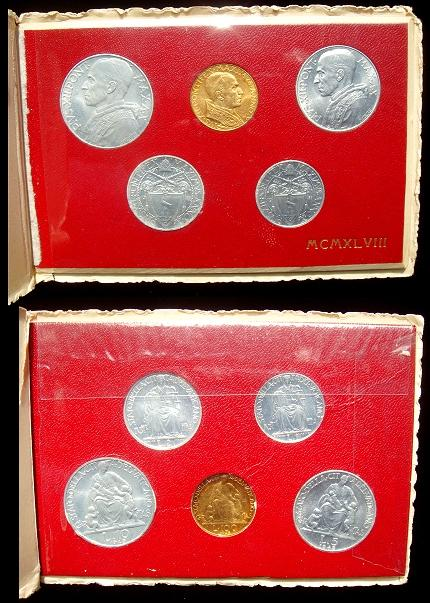1948 Vatican Mint Set With 100 Lire Gold Photo