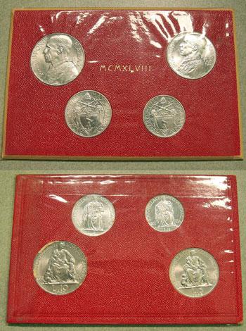1948 Vatican Mint Set, 4 Coins UNC Photo