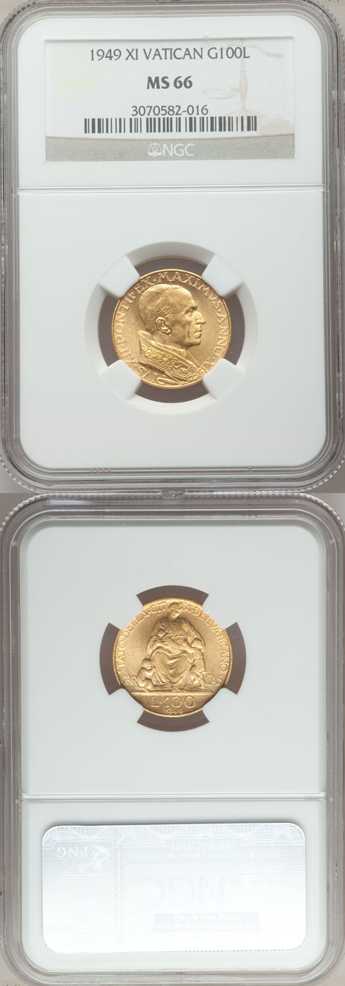 1949 Vatican 100 Lire Gold Coin NGC MS66 Photo