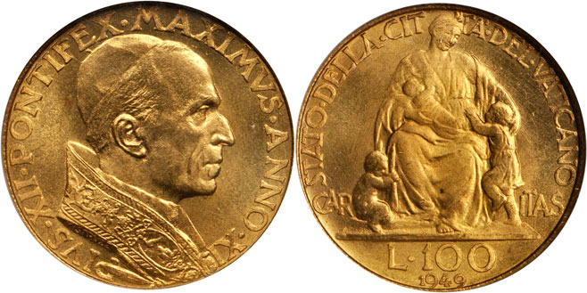 1949 Vatican 100 Lire Gold Coin NGC MS65 Photo
