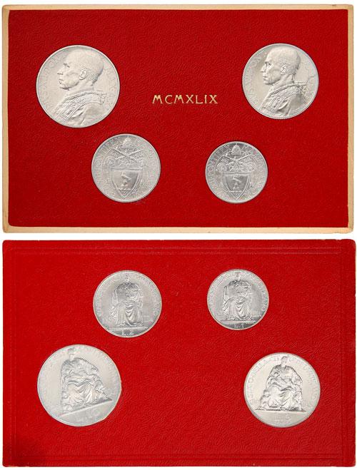 1949 Vatican Coin Set, 4 Pius XII Coins Photo