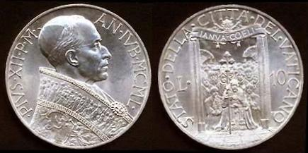 1950 Vatican 10 Lire Coin HOLY YEAR Photo