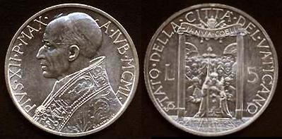 1950 Vatican 5 Lire Coin HOLY YEAR Photo