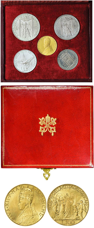 1950 Vatican Coin Set, 100 Lire Gold B/U Case Photo