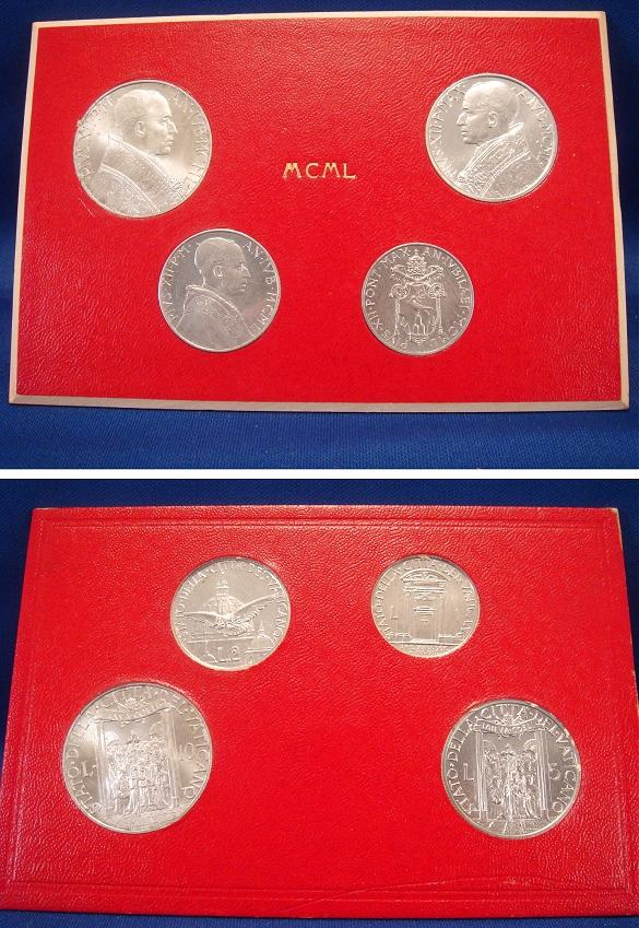 1950 Vatican Mint Coin Set, 4 Coins BU Photo