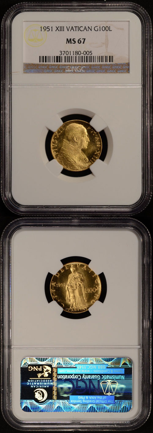 1951 Vatican 100 Lire Gold Coin NGC MS67 Photo